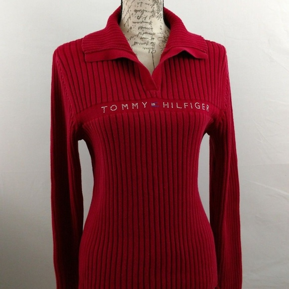 890e74b3715a58 Tommy Hilfiger Women's Red Sweater XL. M_5b5be32b6a0bb7fbcce5e86e